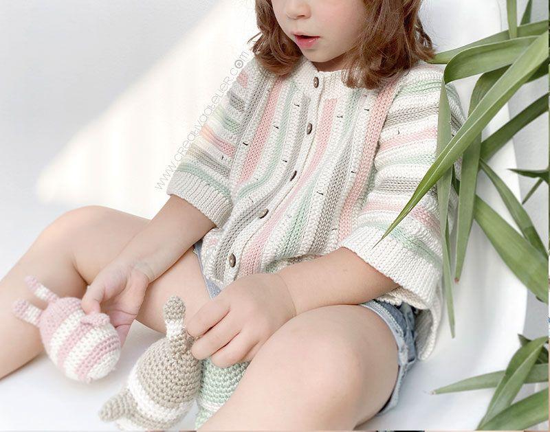 Cómo tejer la chaqueta STRIPY de Crochet para bebé y niña - patrón y Tutorial