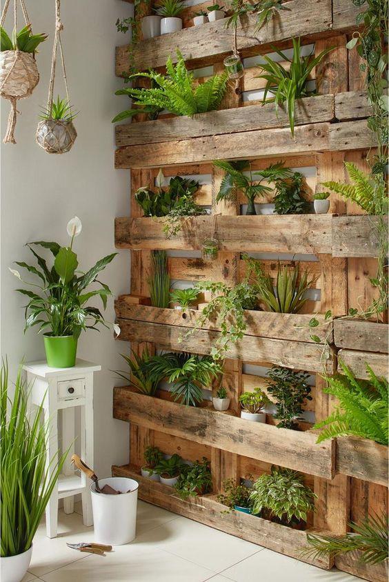 Jardín vertical con palets