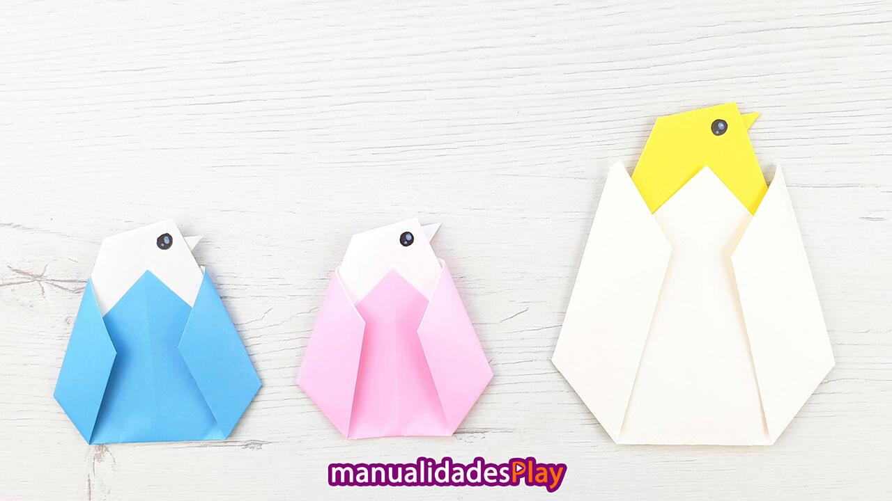 Pollito de origami realizado con una hoja de papel