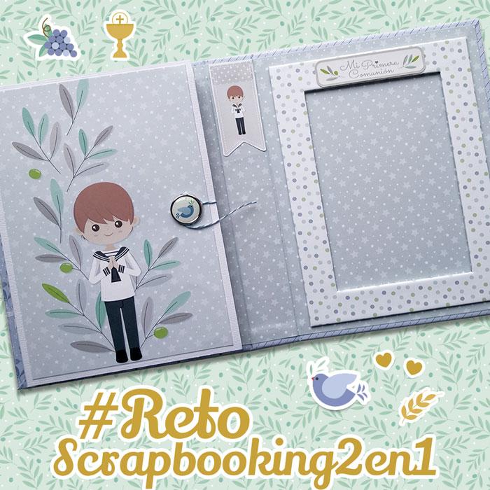 reto scrapbooking 2 en 1 mini album comunion y portafotos