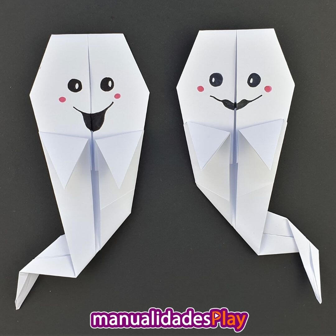 Fantasmas de origami realizado con una hoja de papel