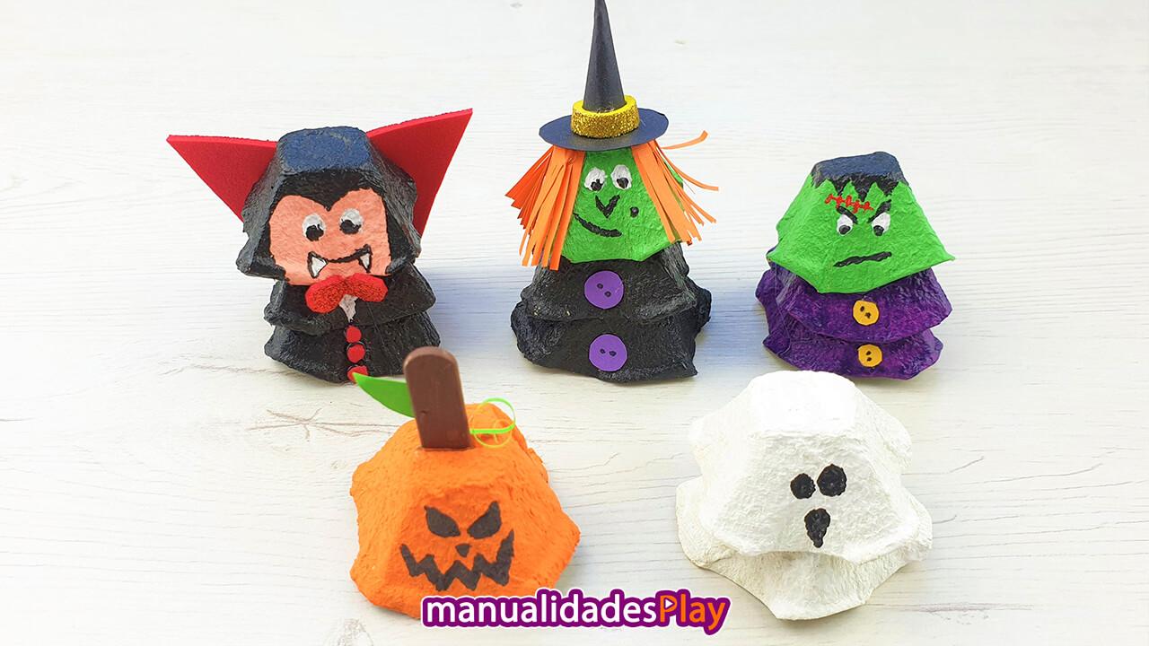 Figuras para Halloween realizadas con hueveras recicladas