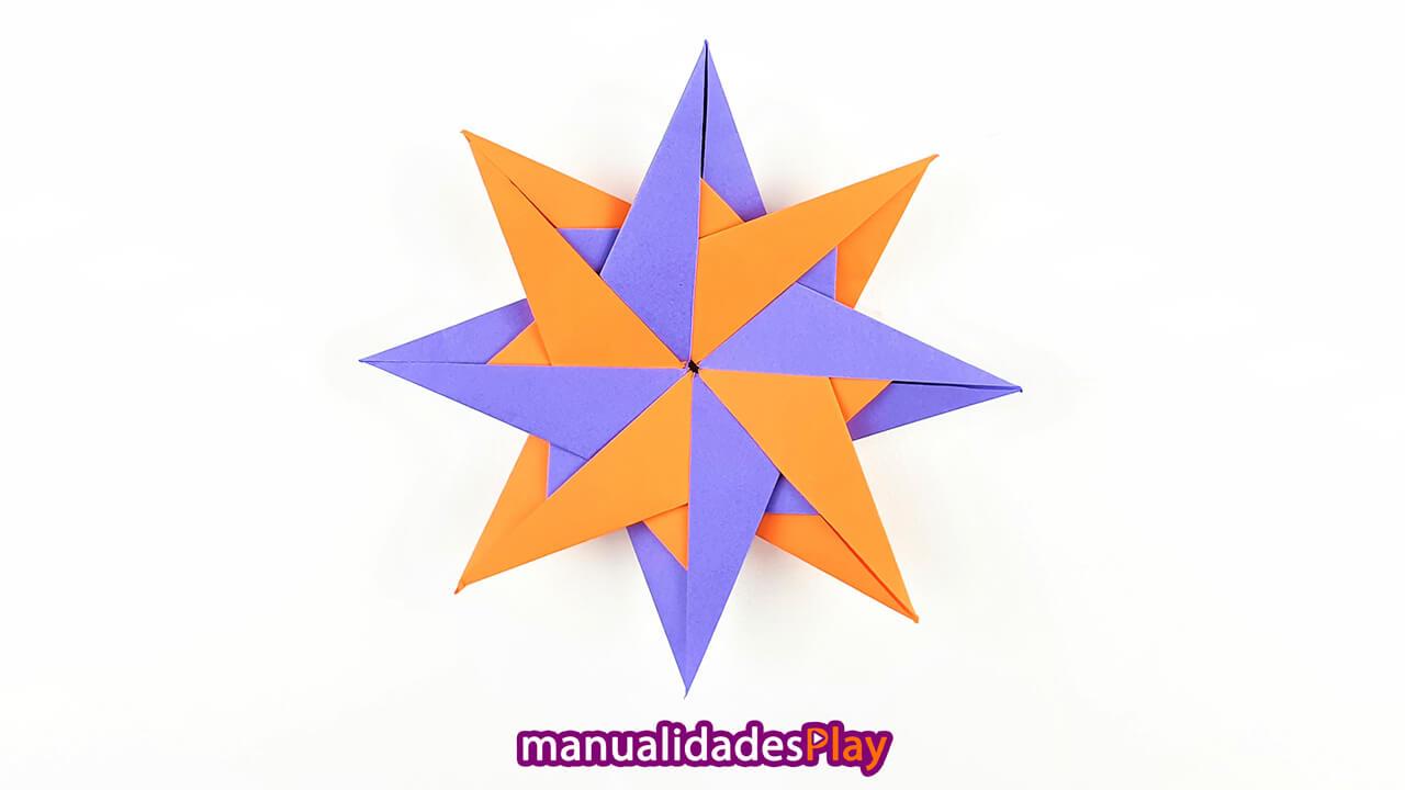 Estrella modular de papel con 8 puntas y dos colores diferentes (morado y naranja)