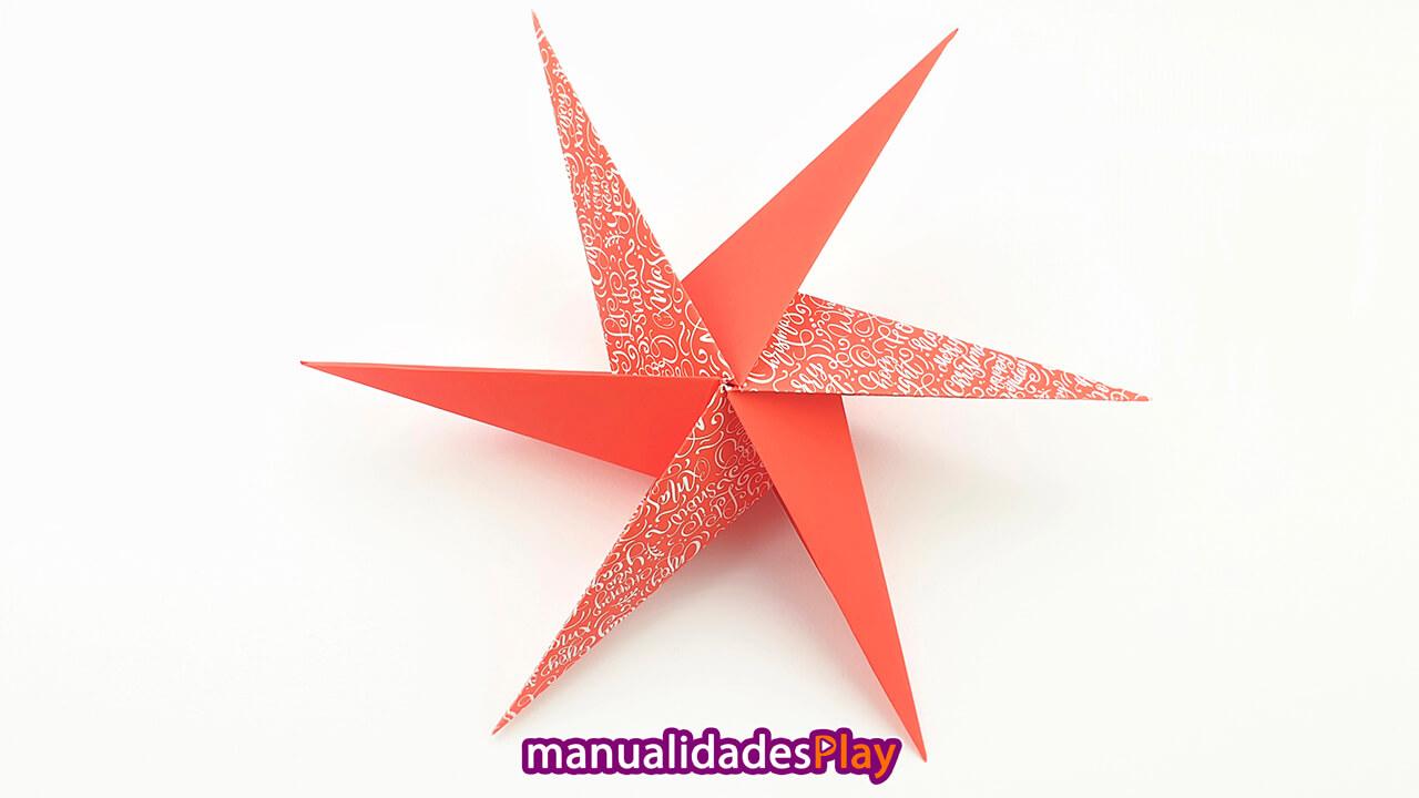Estrella de origami modular 3d de 6 puntas