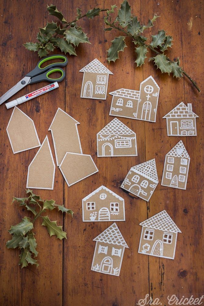 manualidades navideñas casitas de cartón