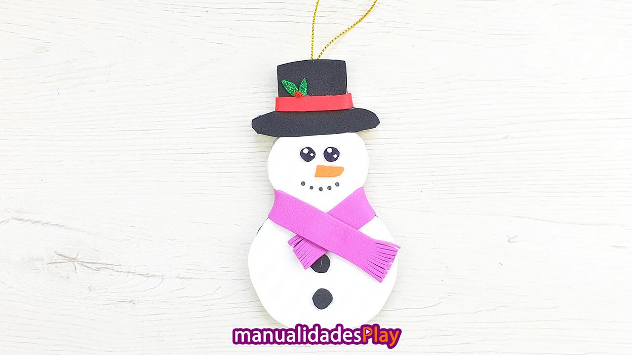 muñeco de nieve reciclando un cd