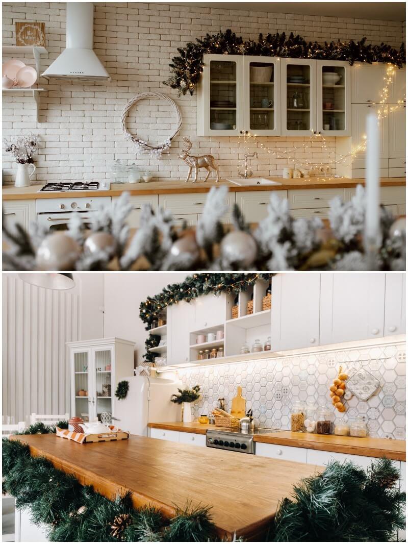 guirnaldas de Navidad para decorar la cocina