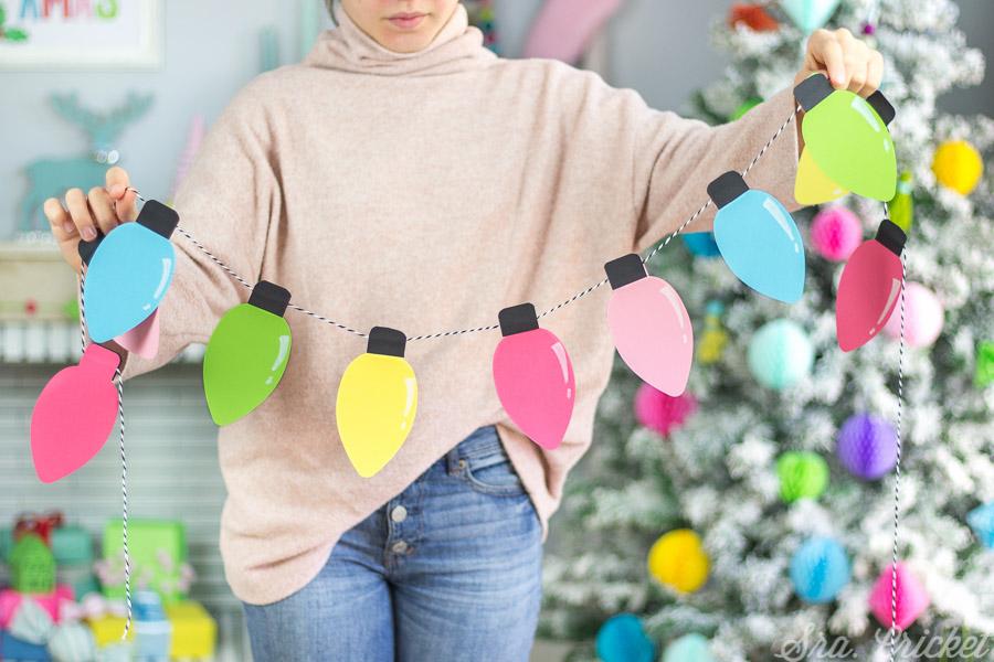 guirnalda de bombillas de navidad de papel