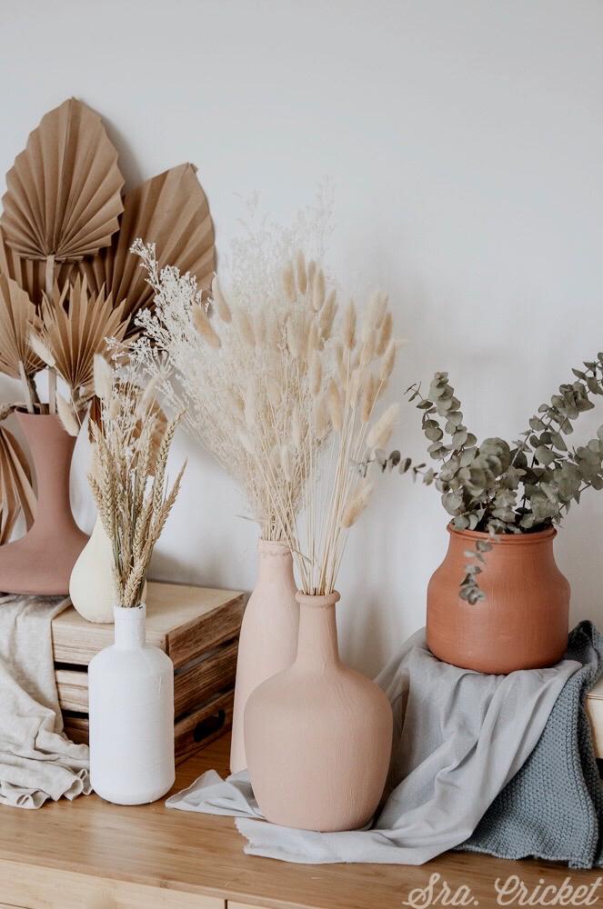 decoración con jarrones de barro hecho en casa diy