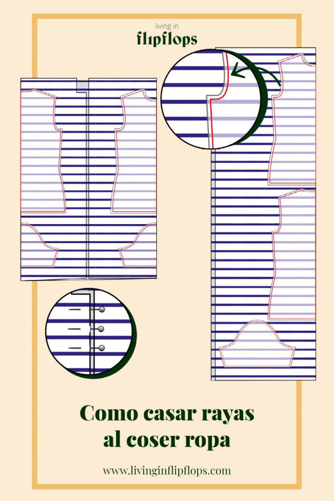 gráfico de como casar rayas al coser por living in flipflops