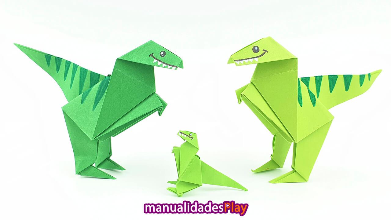 Dinosaurios de papiroflexia, dos dinosaurios grandes y uno pequeño