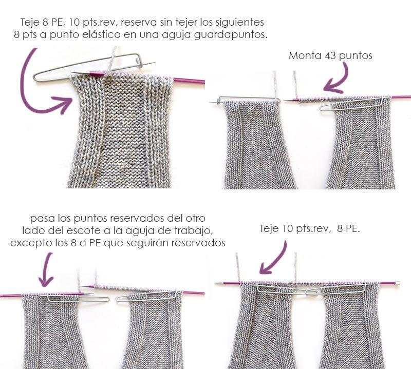 Chaleco de Punto Reversible DUO - Patrón y Tutorial - Une los dos hombros por el cuello