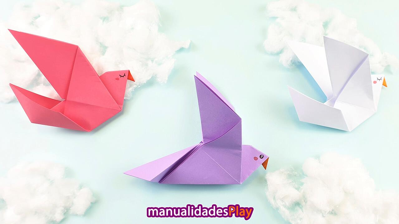 3 palomas de origami fácil de colores rosa, morado y blanco