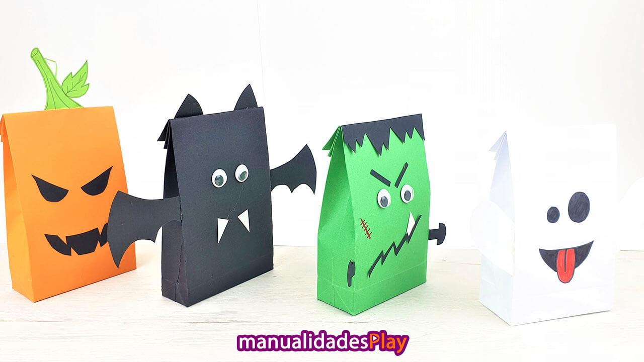 Bolsas para dulces con cartulina para Halloween
