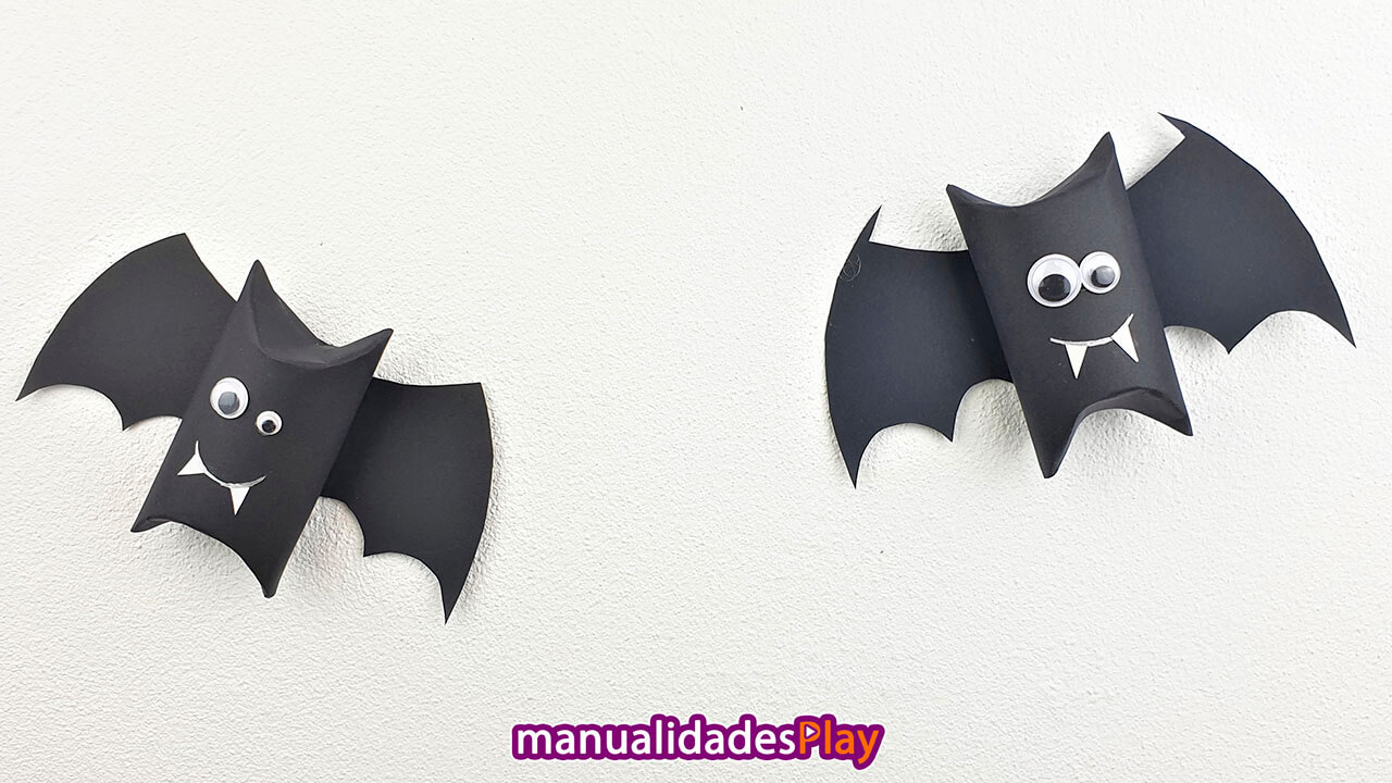 Murciélagos para Halloween con cartulina
